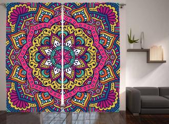 Colorful Floral Motif Curtain