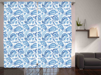 Ikat Style Watercolor Curtain
