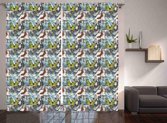 Blooms Roses Butterflies Curtain