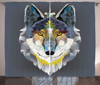Wolf Coyote Portrait Art Curtain
