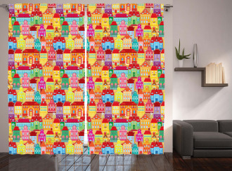 Colorful Houses Curtain