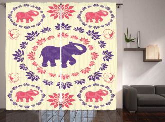 Colorful Floral Elephant Curtain