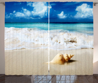 Nautical Sunny Coastline Curtain
