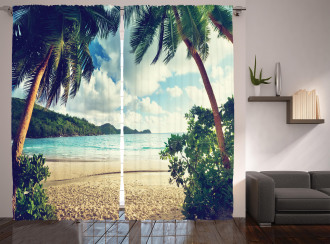 Summer Vintage Tropical Curtain