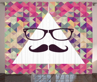 Hipster Mustache Glasses Curtain
