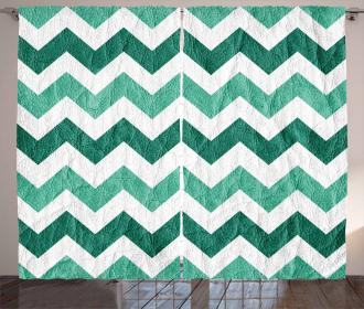 Pastel Chevrons Green Curtain