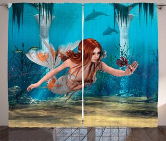 Magic Aqua Sea Lily Curtain