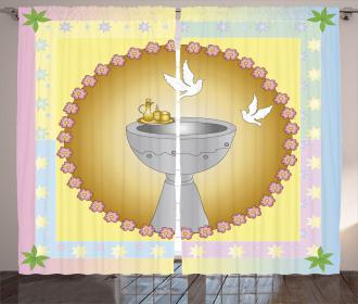 Leaves Stars Pigeons Curtain