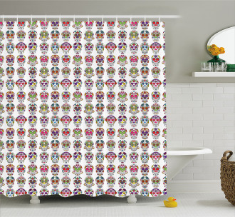 Skulls with Flowers Shower Curtain