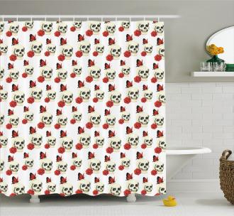 Skull Roses Butterflies Shower Curtain
