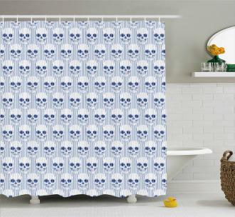 Blue Skulls Optical Shower Curtain