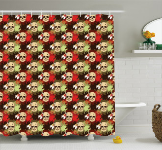 Skull Feather Pattern Shower Curtain