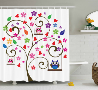 Tree Flowers Playful Birds Shower Curtain