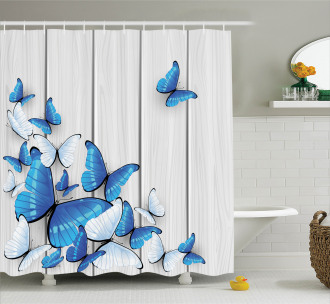 Insect Wooden Timber Shower Curtain