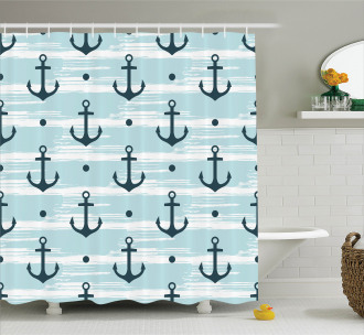 Pattern with Anchors Shower Curtain