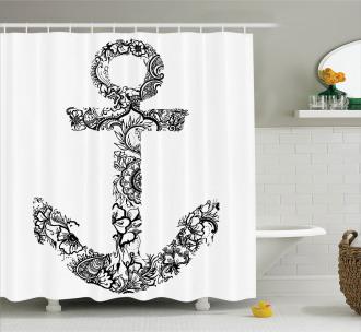 Anchor Shape Flower Shower Curtain