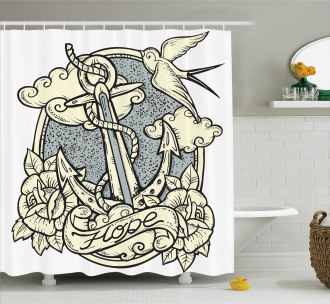 Anchor and Roses Clouds Shower Curtain
