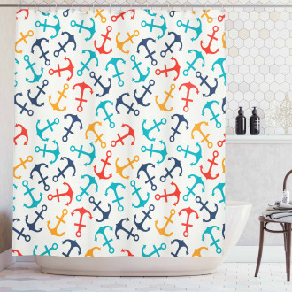Anchor Shape in Lines Shower Curtain