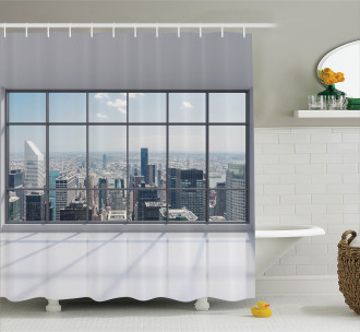 Big Window Downtown View Shower Curtain