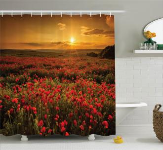 Sunset Meadow Farmland Shower Curtain