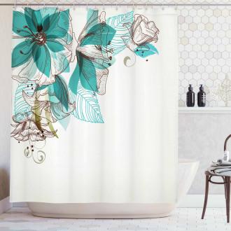 Flowers Buds Leaf Festive Shower Curtain