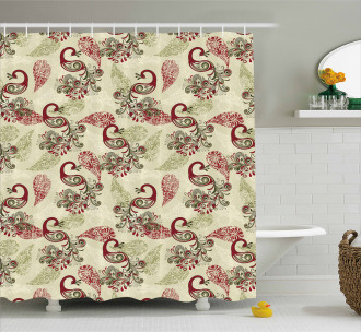 Peacocks and Snowflakes Shower Curtain