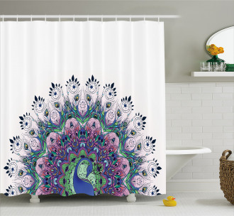 Exotic Wild Peacock Shower Curtain
