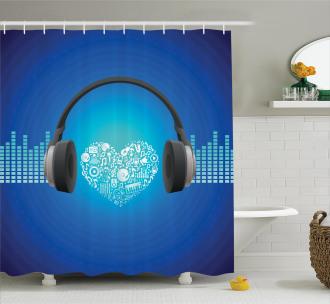 Heart Icon Earphones Shower Curtain