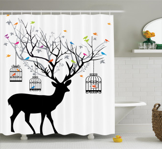 Deer Colorful Birds Shower Curtain