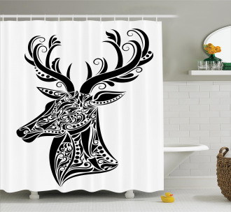 Deer Animal Tattoo Shower Curtain