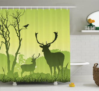 Deer Trees and Crow Bird Shower Curtain