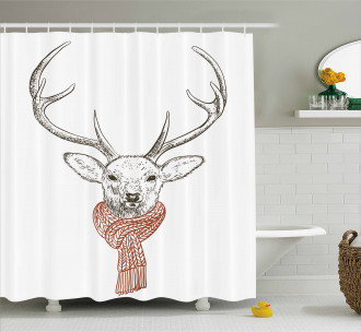 Deer with Scarf Winter Shower Curtain