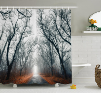 Autumn Sky and Leaves Shower Curtain