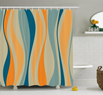 Retro Vibrant Stripes Shower Curtain