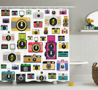 Vintage Old Cameras Shower Curtain
