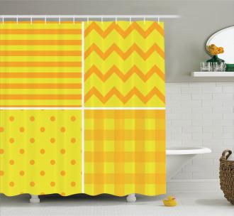 Retro Patterns Zigzag Shower Curtain