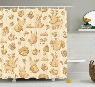 Forest Animals Polka Dots Shower Curtain