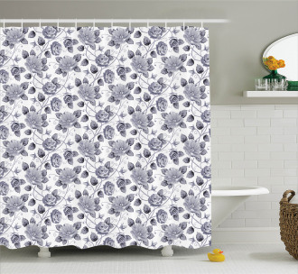 Vintage Roses Floral Art Shower Curtain