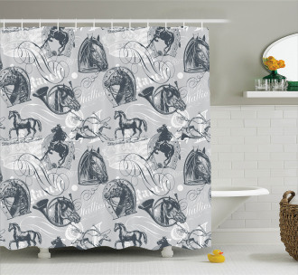 Horse Royal Animal Retro Shower Curtain