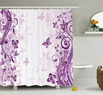 Swirling Flowers Wild Shower Curtain