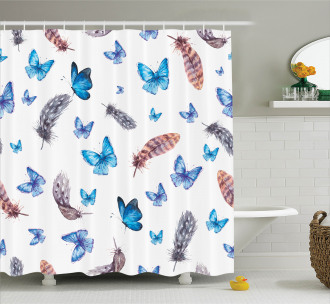 Feathers and Butterfly Shower Curtain