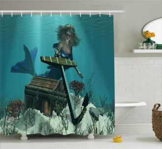 Ocean Mythical Pirate Shower Curtain