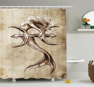 Vintage Mythical Art Shower Curtain