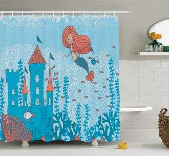 Cartoon Castle Corals Shower Curtain