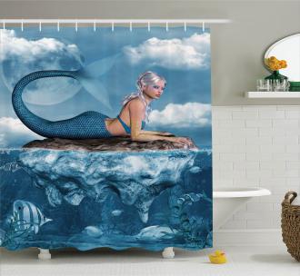 Mythical Sea Goddess Shower Curtain