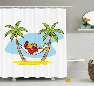 Hammock Palm Tree Shade Shower Curtain