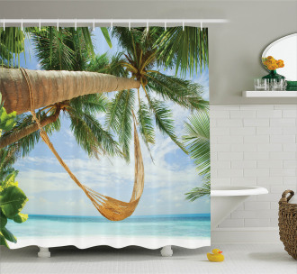 Ocean Sandy Shore Palm Shower Curtain