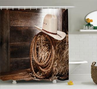 Wooden Folk Robe Hat Shower Curtain