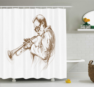 Sketchy Solo Jazz Band Shower Curtain