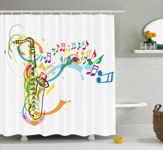 Saxophone Wavy Notes Shower Curtain